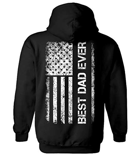 Tcombo Father's Day American Flag - Best Dad Ever Unisex Hoodie Sweatshirt (Black - Back Print, X-Large)