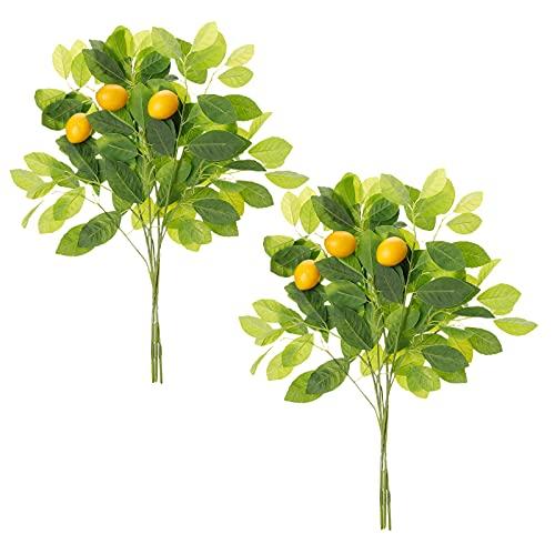 MOOVGTP 6 ramas de limón artificial, 45 cm de limón amarillo falso con hojas verdes ramas de fruta artificial para decoración del hogar, boda, fiesta