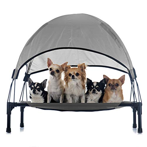 WilTec Portable Outdoor Relax Pet Bed Canopy Dog Bed S Grey
