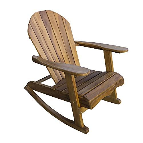 Trueshopping Wooden Adirondack Rocking Garden Chair - Naturally...