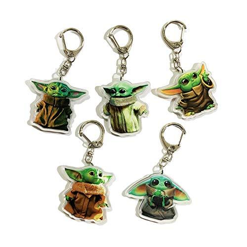 5 llaveros de Yoda para bebé, diseño de personaje de Star Wars Mandalorian, de acrílico de doble cara, para hombres y niños, con colgante de bolsa de regalo, regalo exquisito