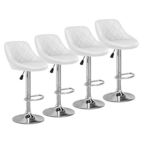Ansley&HosHo White Bar Stool Swivel Set of 4 for Kitchen Padded Bar Pub Stool Height Adjustable Home Dining Stool Dining Chair for Bar Table Kitchen Counter Restaurant Bar Pub Café Bistro