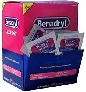 Benadryl Allergy 60 Packs of 2 Tablets Dispenser Box Single Dose Individual Packs by Benadryl