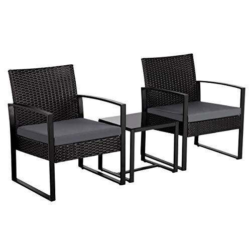 Yaheetech Set Mobili da Giardino in Poly Rattan 2 Sedie e Tavolino da Balcone con Cuscini Esterno Interno Nero