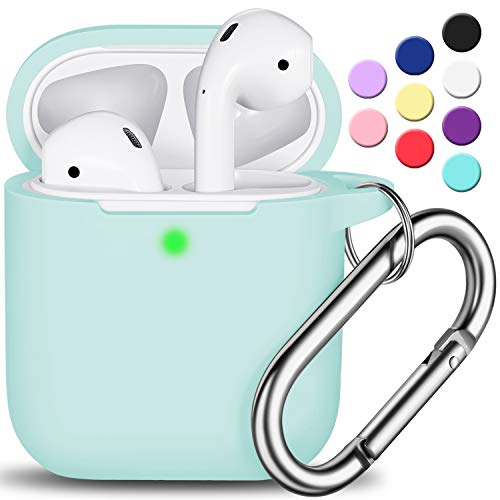 AirPods Case Cover with Keychain, Full Protective Silicone AirPods Accessories Skin Cover for Women Girl with Apple AirPods Wireless Charging Case,Front LED Visible-Turquoise