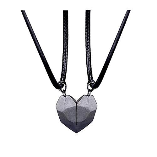 2Pcs Magnetic Couple Necklace Lovers Heart Pendant Distance Faceted Charm...