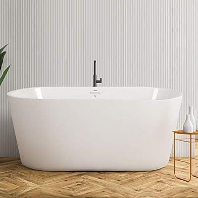 "FerdY 55"" Freestanding Bathtub Small Classic Oval Shape Acrylic Soaking Bathtub, F-0522 Modern White, cUPC Certified, Drain & Overflow Assembly Included"