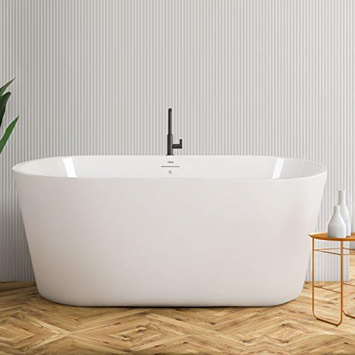 FerdY Acrylic Freestanding Bathtub, F-522 Small & Gracefully Shaped Freestanding Soaking Bathtub, Glossy White, cUPC Certified, Drain & Overflow Assembly Included (F-0522-55 w/Brushed Nickel Drain)