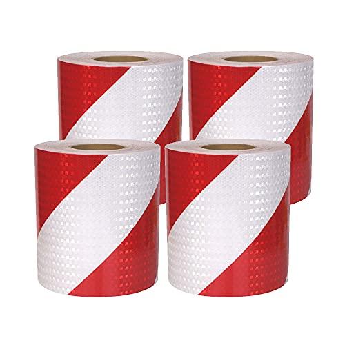 Zasvec Nastro Catarifrangente Adesivo 4 Rotoli 3m x 5cm Bianco e Rossotwill Riflettente Nastro Strisce Catarifrangenti Adesive Etichetta di Sicurezza Attenzione Nastro Riflettente