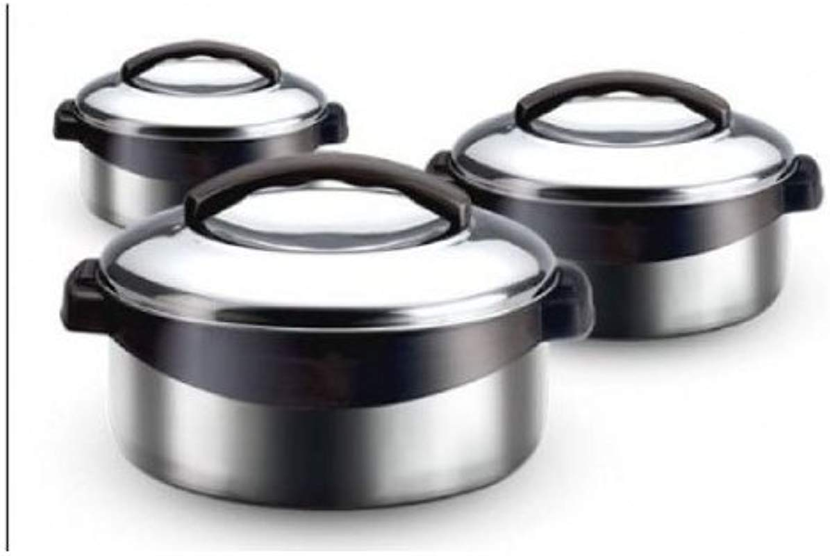 Milton Regent 3 PC All Stainless Steel Thermo Hot Pot Insulated Casserole Keeps Food Warm Cold For Upto 4 6 Hours