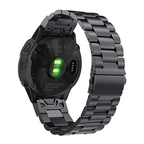 YOOSIDE Fenix 5X/Fenix 6X Armband 26mm QuickFit Metall Echtleder Ersatz Armband Gliederarmband Uhrenarmband für Garmin Fenix 5X/ 5X Plus,Fenix 3,Quatix 3, D2 Delta PX,Tactix Charlie,Schwarz