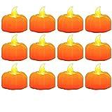 12 luces de calabaza de Halloween, velas sin llama, luces LED de té de calabaza, farol, decoración de otoño, decoración de fiesta de Halloween, funciona con pilas (incluidas)