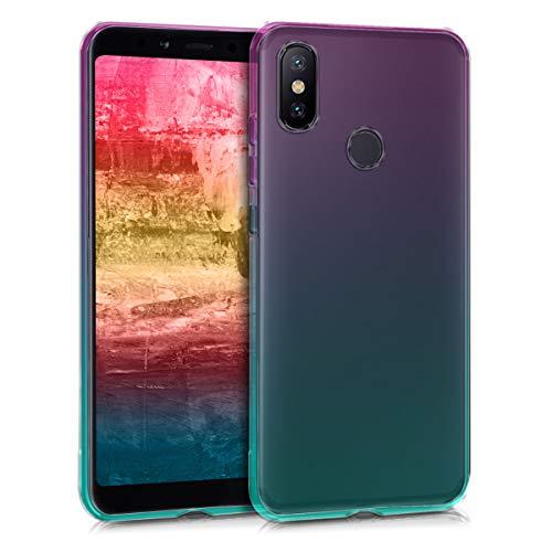 kwmobile Funda Compatible con Xiaomi Mi 6X / Mi A2 - Carcasa de TPU Bicolor - Rosa Fucsia/Azul/Transparente