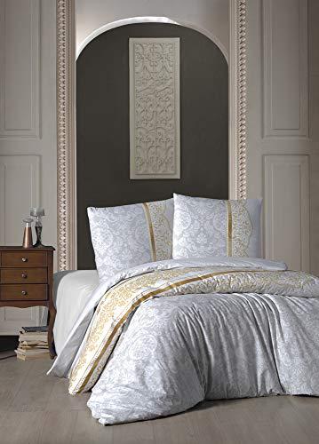 ZIRVEHOME Bettwäsche 200x220 cm, Grau/Beige, Barock Muster, 100% Baumwolle/Renforcé, 3 teilig Baumwolle Bettbezug, mit 2 mal Kopfkissenbezug 80x80 cm.Verdeckter Reißverschluss, Model: Rocco V2