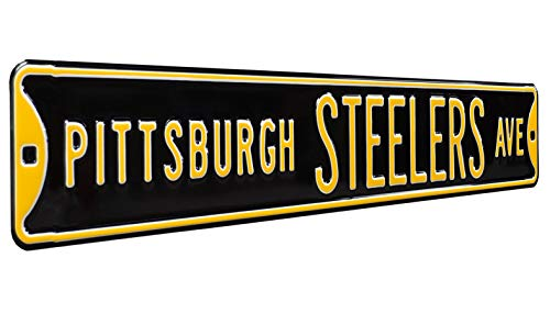 FREMONT DIE 35063NFL Pittsburgh Steelers Ave, Black, Metal Wall Decor- Large, Heavy Duty Steel Street Sign – Football Wall Decor for Dorm Room Decorations, Man Cave Decor, Office and Gifts, Team Color, 36