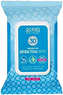 Ocean Healthcare Antibacterial hand wipes. 5 ingredients. Alcohol-Free. Also with 2 natural based emollients (Aloe and Cha...
