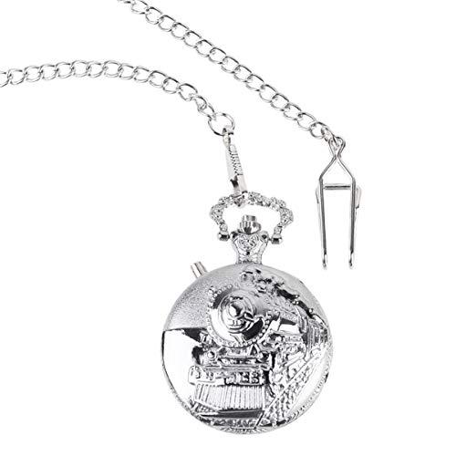 Relógio de bolso vintage Hemobllo, relógio de bolso, clássico, roda, pingente, relógio, locomotiva, design para aniversário, casamento (prata)