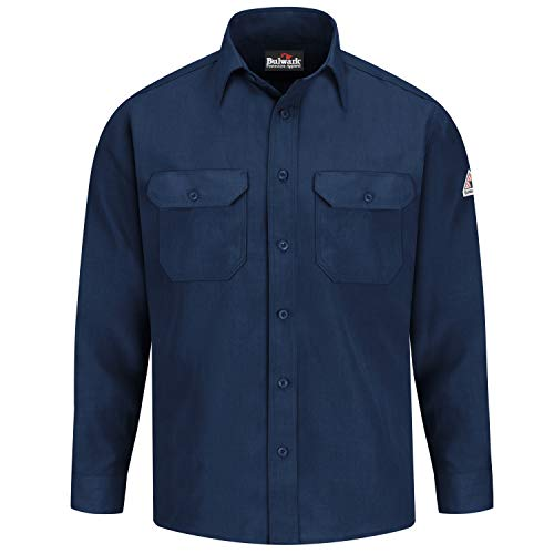 Bulwark Flame Resistant 4.5 oz Nomex IIIA Regular Uniform Shirt with Tailored Sleeve Placket, Topstitched Cuff, Navy, X-Large