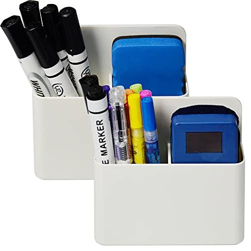 2 Pack Magnetic Dry Erase Marker Holder, Whiteboard Marker Holder, Mighty-magnetic Marker Pen Organizer for Whiteboards (White)