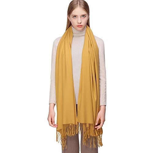 Pashmina amarilla de invierno para mujer