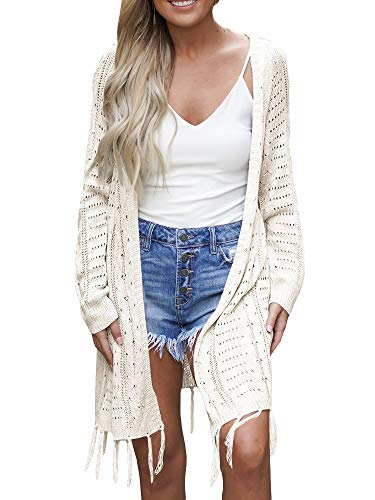 Soulomelody Womens Lightweight Knit Cardigans Open Front Hollow Out Crochet Tassel Long Sleeve Sweater Coat White