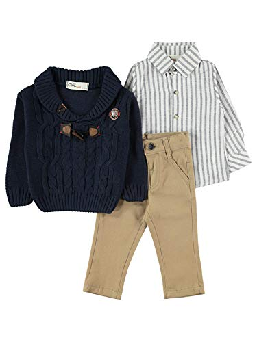 Burgerlijke Baby Jongen Lange Mouwen Kleding Set met Broek, Shirt en Gebreid Vest