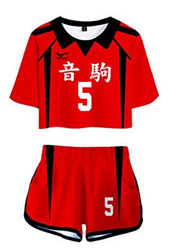 QYIFIRST Anime Nekoma High School Kozume Kenma Jersey Set Camiseta Shorts Suit #5 Cosplay Disfraz Mujer Rojo