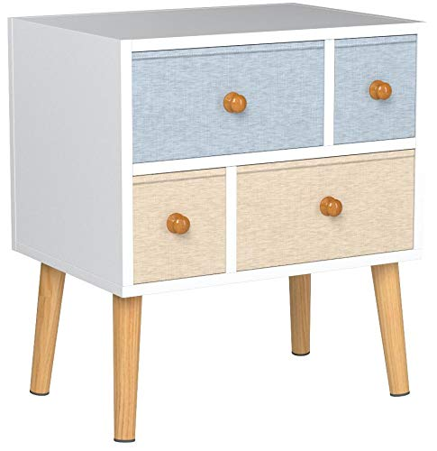 Lifewit Nightstand with 4 Fabric Drawers, Bedroom Side Table Bedside Table, Easy to Assemble, Sturdy...