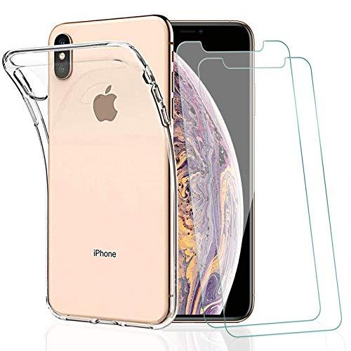 KEEPXYZ Funda para iPhone XS MAX + 2 Pcs Protector de Pantalla para iPhone XS MAX Cristal Templado, Flexible Suave Silicona Transparente TPU Carcasa + Vidrio Templado para iPhone XS MAX