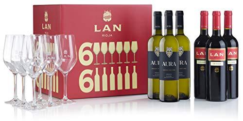 Pack Especial LAN-AURA - 3 Botellas Tinto LAN Crianza + 3 Botellas Blanco Aura + 6 Copas de Regalo