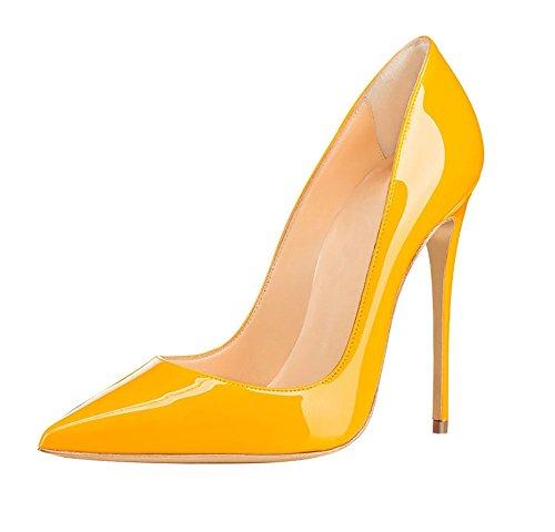 Soireelady Spitze Damen Pumps,Bequeme Lack Stilettos,Elegante Gelb High Heels Große 43