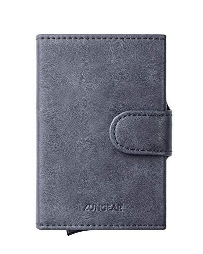 LUNGEAR Carteras   tarjeteros para Tarjetas de credito, Bloqueo RFID Automático Billetera pequeñas, para Hombres y Mujeres, Gris Ahumado