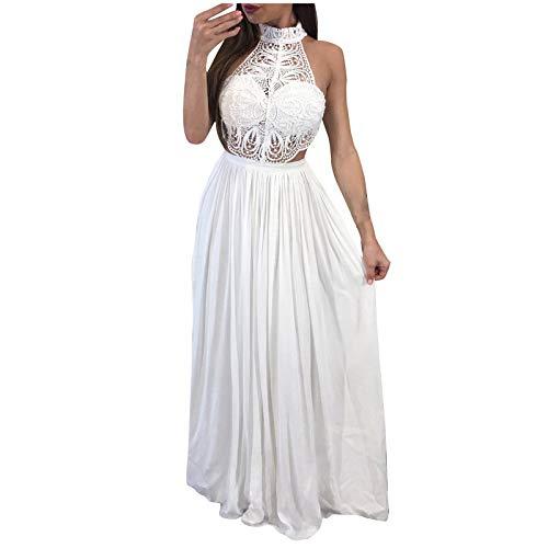 YANFANG Vestido Elegante Largo Mujer,Vestido de Noche Sexy Delgado de Encaje sin Mangas con Cuello Redondo de Color sólido de Moda para Mujer, XL,White