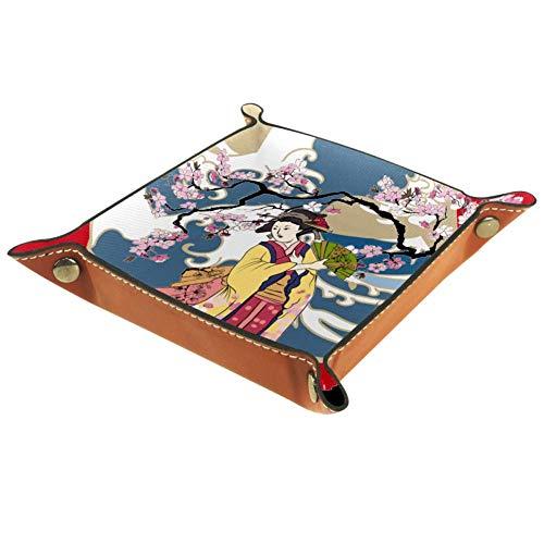 TIZORAX - Kimono tradicional japonés con forma de onda japonesa para mujer con cerezo, caja de almacenamiento de cuero, bandeja de valet organizador de joyas para llave de monedas