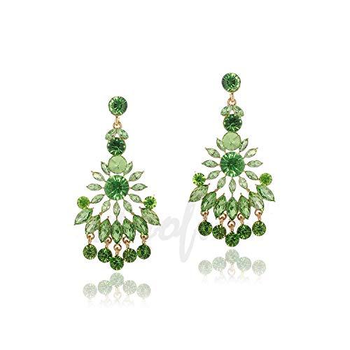 Little Sushi - Orecchini pendenti a forma di nappa, con cristalli Hyperbole da sposa e NA, colore: Verde, cod. KPA7212