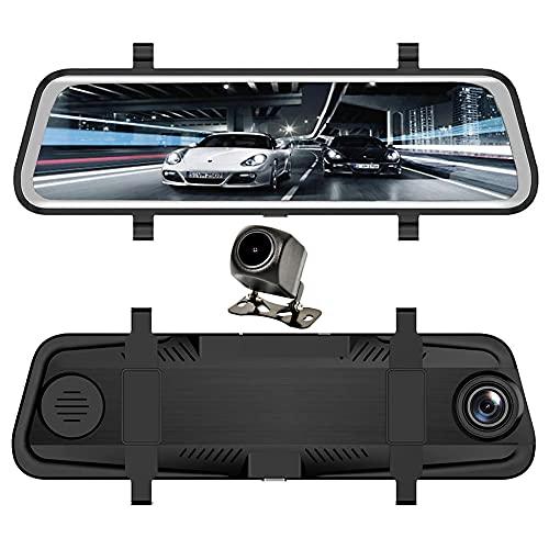 Kilcvt Grabadora de conducción, Full HD 9,66'' Cámara de Marcha atrás para Aparcamiento/Cámara de Coche Ayuda para aparcar/Pantalla táctil HD 1080P Espejo retrovisor Delantero