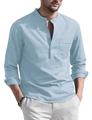 COOFANDY Mens Cotton Casual Henley Shirt Lightweight Slim Fit Long Sleeve Tee
