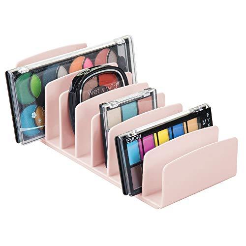 mDesign Kosmetik Organizer aus BPA-freiem Kunststoff – Schminkaufbewahrung mit 9 Steckplätzen – Aufbewahrungsbox für den Waschtisch, Schminktisch oder Schrank – rosafarben