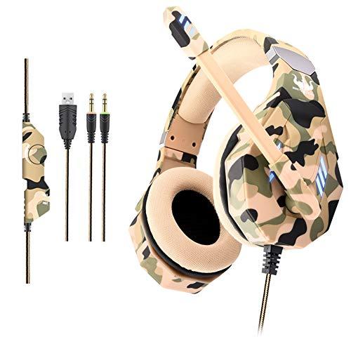 Gaming Headset für PC, Gaming Kopfhörer mit Mikrofon [ LED Licht ] Stereo Bass [ Lautstärkeregler ] Over Ear Headset mit Flexible Omnidirektional Mikrofon für Playstation 4 Xbox One Nintendo