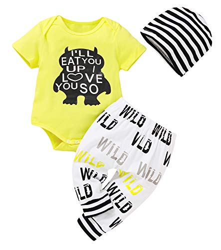 Younger star 3Pcs Newborn Baby Boys Clothes Letter Print Romper+ Casual Pants+Hat...