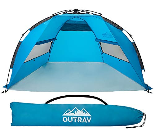Pop Up Beach Tent – Quick and Easy Set Up, Family Size, Portable Sun and Water Shelter and Shade...