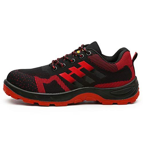 Meng Zapatillas de Seguridad Hombre,Trabajo con Puntera de Acero Transpirable Reflectante Botas de Seguridad (Color : Red, Size : 39)