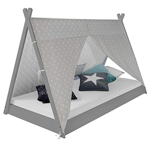 Homestyle4u 1967, Kinderbett 90x200 cm, Tipi Bett Grau Weiß, Tipi Zelt Mit Sterne, Holz Kiefer