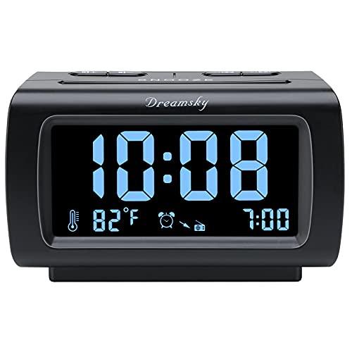 DreamSky Wecker Radio FM mit USB Port für Schlafzimmer, 1,2 Zoll Bold Digit Display mit 0%-100% Dimmer, Temperatur, Schlummerfunktion, einstellbare Alarmlautstärke, Sleep-Timer, 12/24h