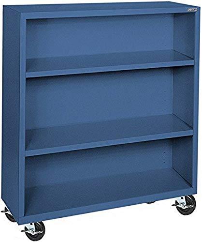 "Sandusky Lee BM20361842-06 Elite Series Welded Mobile Bookcase, 18"" Length x 48"" Height x 36"" Width, Blue"