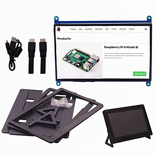 IGOSAIT 7 inch 1024 * 600 Capacitive Touch Panel TFT LCD Module Screen Display for Raspberry Pi 3 B+/4b (Color : Collocation shell)