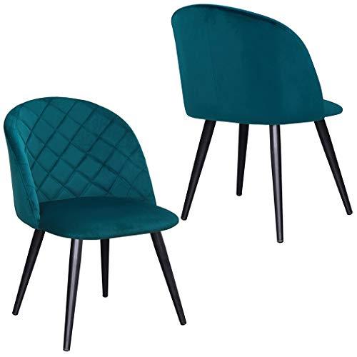 2X Silla de Comedor de Tela (Terciopelo) diseño Retro Silla tapizada Vintage con Patas de Metal seleccion de Color Duhome 8052B, Color:Verde Azulado, Material:Terciopelo