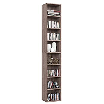 HOMFA CD DVD Storage Tower Rack 8-Tier Wooden Media Storage Organizer Cabinet Unit 71 Inches Height Bookshelf Display Bookcase with Adjustable Shelves for CDs Books Video Games Arts Oak