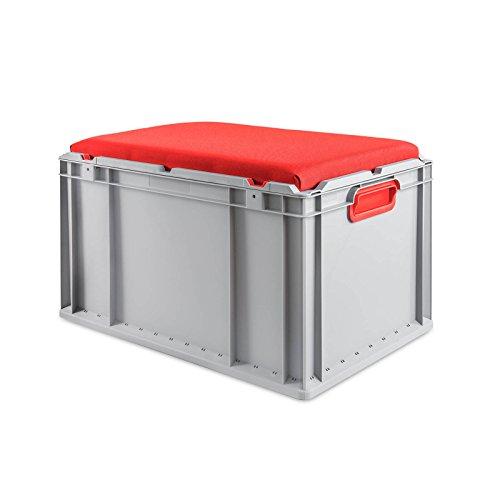 aidB Eurobox NextGen Seat Box, rot, (600x400x365 mm), Griffe geschlossen, Sitzbox mit Stauraum und abnehmbarem Kissen, 1St.