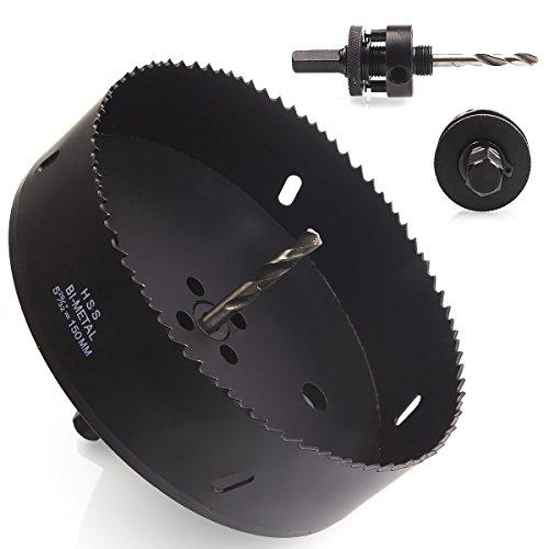 Eliseo 6 inch 150 mm Hole Saw Blade for Cornhole Boards/Corn Hole Drilling Cutter & Hex Shank Drill Bit Adapter for Cornhole Game/Carbon Steel & BI-Metal Heavy Duty Steel(Black)